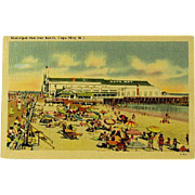 Linen Post Card of Municipal Pier and Beach Cape May NJ