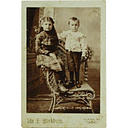 Cabinet Card of Boy and Girl Palmyra Illinois