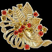 Rhinestone Brooch in Gold Tone Leaves
