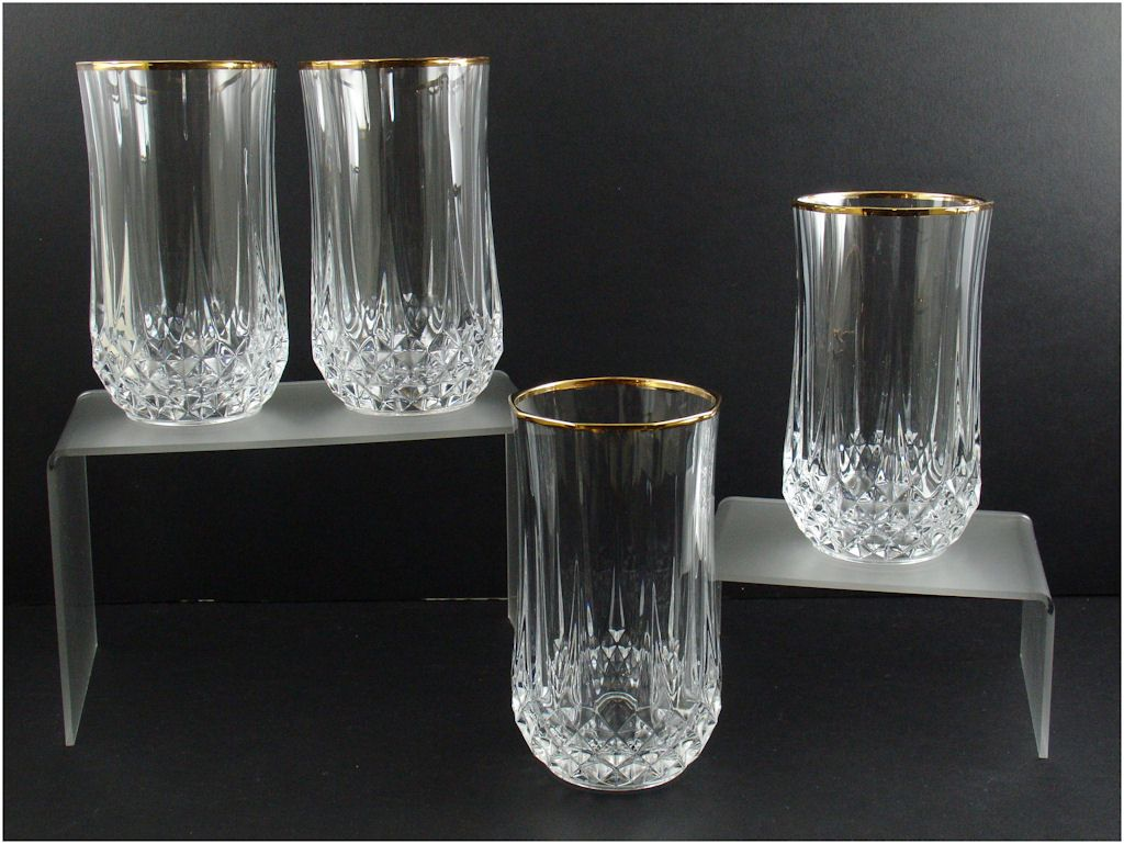 cristal d 39 arques longchamp gold high ball glasses 4 from rubylane sold on ruby lane. Black Bedroom Furniture Sets. Home Design Ideas