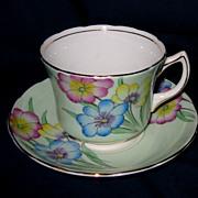 EB Foley - Florals on Green - Teacup Set