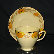 Vintage English Teacup Set - Golden Floral on Yellow