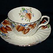 Aynsley - Brown Leaf Teacup Set