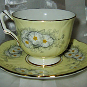 Aynsley - White Flowers on Yellow - Teacup Set