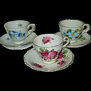 Sadler, Queen Anne, Royal Standard - Fancy Teacup Sets (3)