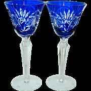 Gorgeous - Cobalt Blue Cut - Tall Wine Goblets