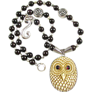 Artisan Bali Owl Totem Necklace: Garnet & Sterling Silver, 21 Inches
