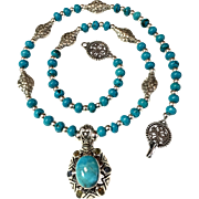 Turquoise, Sterling & Chrysocolla Necklace, 20-1/2 Inches