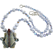 Sweet Froggy Necklace: Agate, Bone, Crystal, Topaz,  18 Inches
