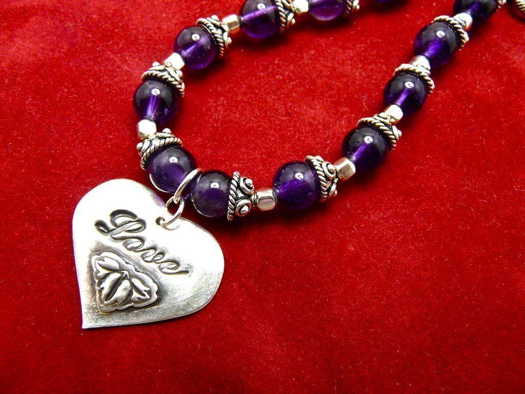 Amethyst & Sterling Love Bracelet, 7-1/2 Inches