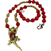 Lucertola Fibonacci Necklace: Brass & Red Resin, 21-1/4 Inches