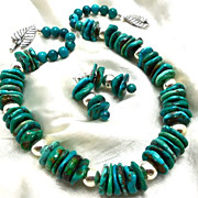 SALE PENDING Turquoise & Sterling Necklace & Earrings