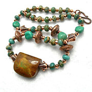 SOLD Man's Turquoise, Copper & Variscite Necklace, 19 Inches - Red Tag Sale Item