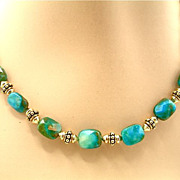 SOLD Peruvian Blue Opal Necklace, 18-3/4 Inches