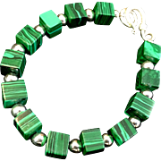 Malachite and Sterling Silver Bracelet, 7-5/8 Inches
