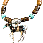 Gem Inlaid Horse Heishi Necklace, 19 Inches