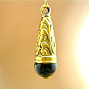 Brass Repousse & Black Onyx Teardrop Earrings, 2-1/2 Inches