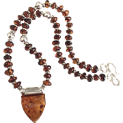 Amber and Sterling Silver Necklace, 21 Inches