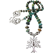 Sterling Tree of Life & Royston Boulder Turquoise Necklace, 21 Inches