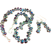 Titanium Peacock Quartz Cocktail Necklace & Earrings, 17 Inches
