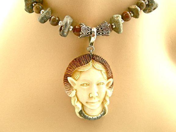 """Human Sheep"" Necklace: Bone/Granite/Onyx, 20-3/4 Inches"