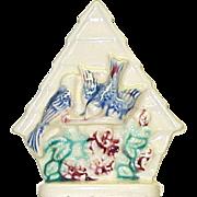 Vintage Birdhouse Wall Pocket Bluebirds & Flowers