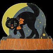 SOLD Halloween Die-Cut Fuzzy Cat On Fence Moon & Stars