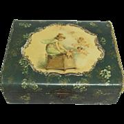Celluloid Dresser Box Little Girl Cherubs