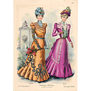 SOLD Delineator Oct 1898 Fashion Litho Print