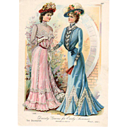 SOLD Delineator May 1901 Fashion Litho Print
