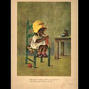 1929 Black Girl Knitting by Ida Chubb