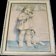 Bessie Pease Gutmann Girl w. Dolls Framed Print