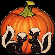 SOLD Halloween Pumpkin With 2 Skunks Die-Cut Decoration