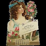 SOLD German 1913 Lg Embossed Die-Cut Calendar Lady Dog Roses