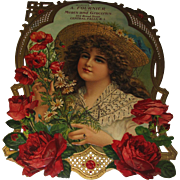 Lg Advertising Die-Cut Lady Roses Poppies Gorgeous