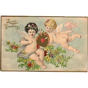 1907 Love's Greeting Valentine Postcard Chubby Cherubs
