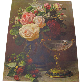 Large Bouquet Cabbage Roses Bird Print By Jean Baptiste Robie