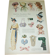 SOLD 1914  And The Seashore Hat Fashion Page - Red Tag Sale Item