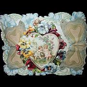 Lg Self-Standing Parchment Die-Cut Valentine Cupids & Pansies