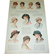 SOLD 1914 The Young Girl's Hat & Hair - Red Tag Sale Item