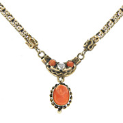 SALE Beautiful Victorian 9kt 9 Karat Yellow Gold Coral Cameo Necklace