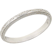 SALE Beautiful Vintage Platinum Wedding Band Ring