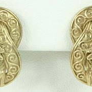 Solid 18K 18 Karat Yellow Gold Beautifully Detailed Gold Earrings