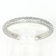 SALE Beautiful Art Deco Platinum Wedding Band Ring