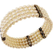 SALE BG758 Carolee Genuine Cultured Pearl & 925 Sterling Silver Crystal 4 Row Bangle Clamper B