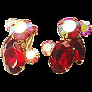 SALE Vintage Large Vivid Red CELEBRITY Signed Crystal Aurora Borealis AB Pink Rhinestone Earri