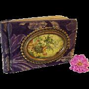 SALE Antique 1909 Edwardian Celluloid Purple Velvet FULL Autograph Album Ivy Hargreaves New ..