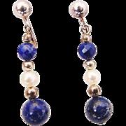 BG367 Vintage Clip On Dangle Earrings 925 Sterling Silver Genuine Pearls Cobalt Lapis Lazuli & Crystal Drops