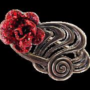 BG325 Romantic JewelArt Sterling Silver Glittery Red Enamel Rose Brooch Pin Vintage