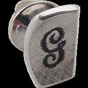 BG790 Signed Sterling Silver Cursive G Initial Letter Black Enamel Vintage Tie Tack Lapel Pin Brooch